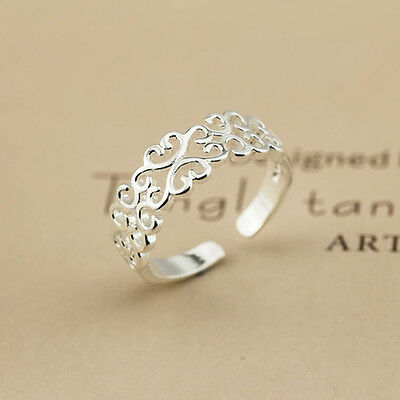 925 Sterling Silver Plated Women Fashion jewelry Rings SIZE OPEN #10
