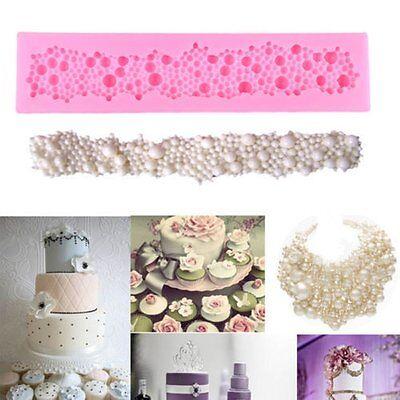 Fondant Sugar - Silicone Pearls Beads Mould Fondant Cake Tools Cupcake Mold Border Sugar Paste
