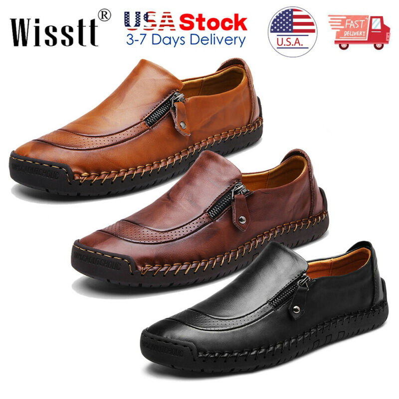 Men's Leather Casual Soft Loafers dress Shoes Breathable Non