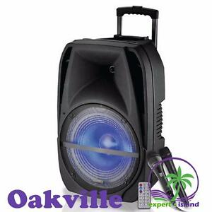 """TECHNICAL PRO WAVE15LED 15"""" ACTIVE SPEAKER RECHARGEABLE PA SYSTEM LED WITH MICROPHONES"""