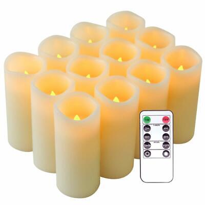 Flameless Candles Flickering Real Wax LED Candles Set of 12 with Remote Control  (Setting Wax)