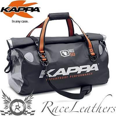KAPPA BLACK SILVER WATERPROOF DRY PACK LUGGAGE TAIL BAG MOTORCYCLE TOURING 50L
