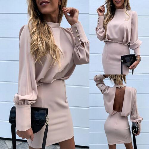 Damen Sexy Rückenfrei Bodyconkleid Langarm Casual Minikleid Knöpfe Partykleider