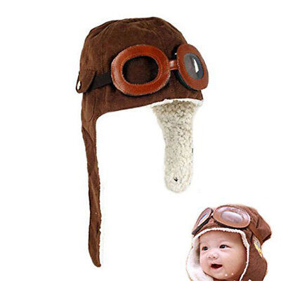 Toddler Baby Infant Kid Soft Warmer Winter Hat With Goggles And Aviator-inspired](Aviator Goggles And Hat)
