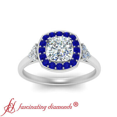 Filigree Halo Engagement Ring With 1.25 Carat Cushion Cut Diamond And Sapphire 2