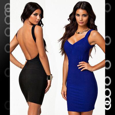 Back Cocktail Mini Dress - Black Blue Open Back Sexy Cocktail Clubwear Party Mini Dress LC21159