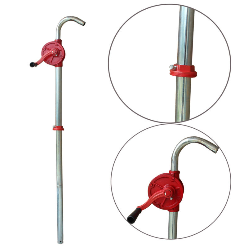 "55 Gallon Manual Hand Crank Rotary Pump Oil Fuel Transfer Suctin Drum 50"" Height"