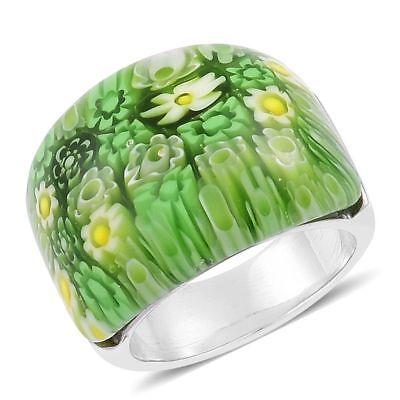 Murano Millefiori Flower Ring - GREEN ITALIAN MURANO MILLEFIORI FLOWERS STAINLESS STEEL RING SIZES