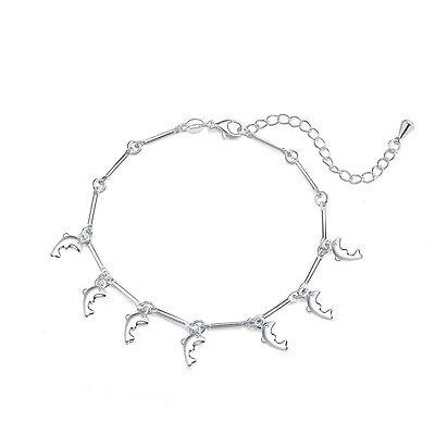 silver Bracelet dolphin solid wedding pretty 925 charms women lady cute hot