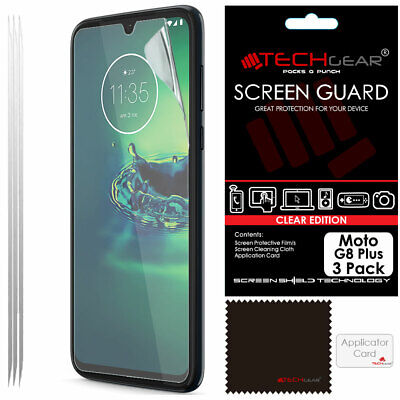 3 Pack of TECHGEAR CLEAR Screen Protector Guard Covers For Motorola Moto G8 Plus