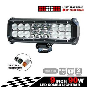 2X 9INCH 90W CREE LED LIGHT BAR SPOT FLOOD OFFROAD DRIVING WORK L Silverwater Auburn Area Preview