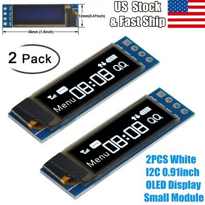 2pcs 0.91 128x32 Iic I2c White Oled Lcd Display Diy Module For Arduino Us Stock