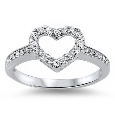 FOR HER! WHITE CZ HEART PROMISE LOVE RING .925 Sterling Silver Ring SIZES 4-12