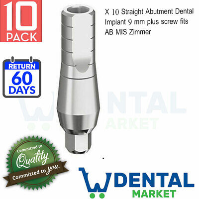 10x Straight Abutment Dental Implant 9 Mm Plus Screw Fits Ab Mis Zimmer
