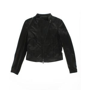 DKNY NEW Black Leather Lined Long Sleeves Bomber Jacket Coat S BHFO