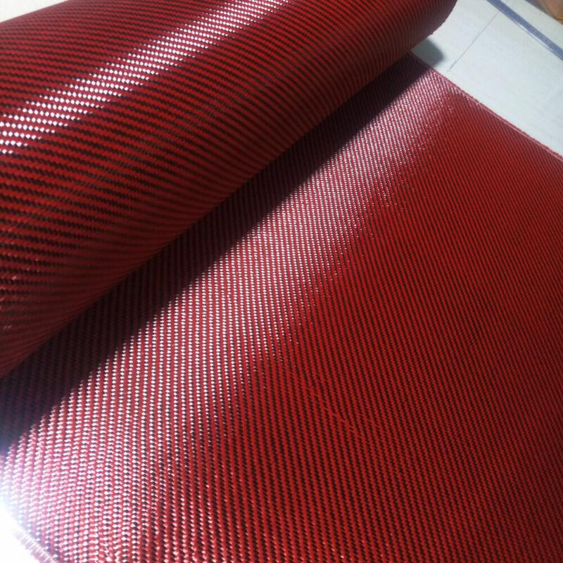 "Carbon Fiber & Red Aramid Carbon Fabric mixed Twill Cloth 20""/50cm wide 200gsm"