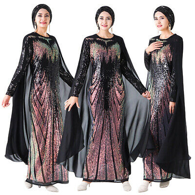 Sequin Cape Women Abaya Long Maxi Dress Evening Party Cocktail Gown Muslim Dubai