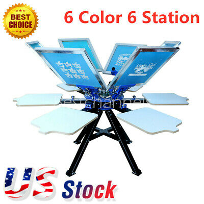 Us-6 Color 6 Station Silk Screen Printing Press Printer T-shirt Print Equipment
