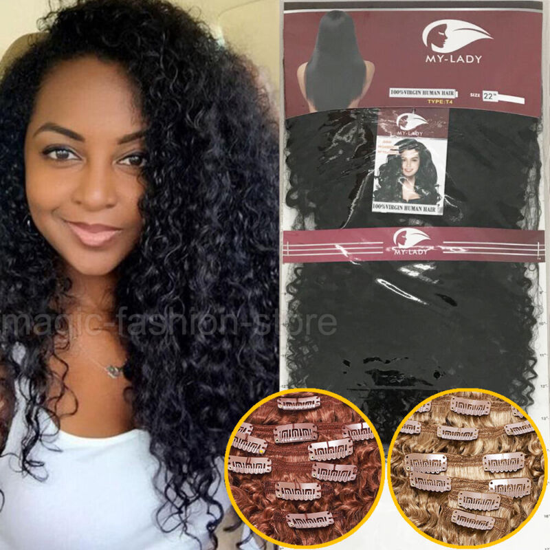 Afro Kinky Curly Clip In Weave Virgin Human Hair Extensions