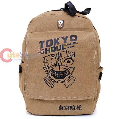 """Tokyo Ghoul Large School Backpack Canvas Anime Costume 16"""" Bag Beige Ken Mask"""