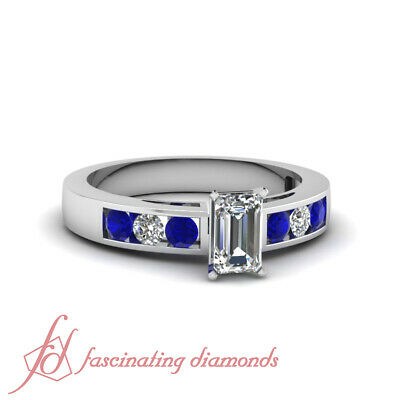 .70 Ct Emerald Cut Diamond & Round Blue Sapphire Channel Set Engagement Ring GIA