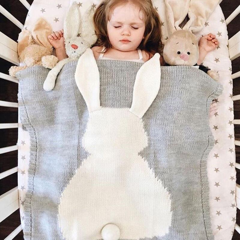 Newborn Baby Knit Blanket Swaddle Wrap Stroller Cover Nursin