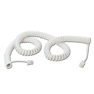 TELEPHONE PHONE CURLY HANDSET LEAD CABLE CORD RJ10 PLUG White 1M 35079.G