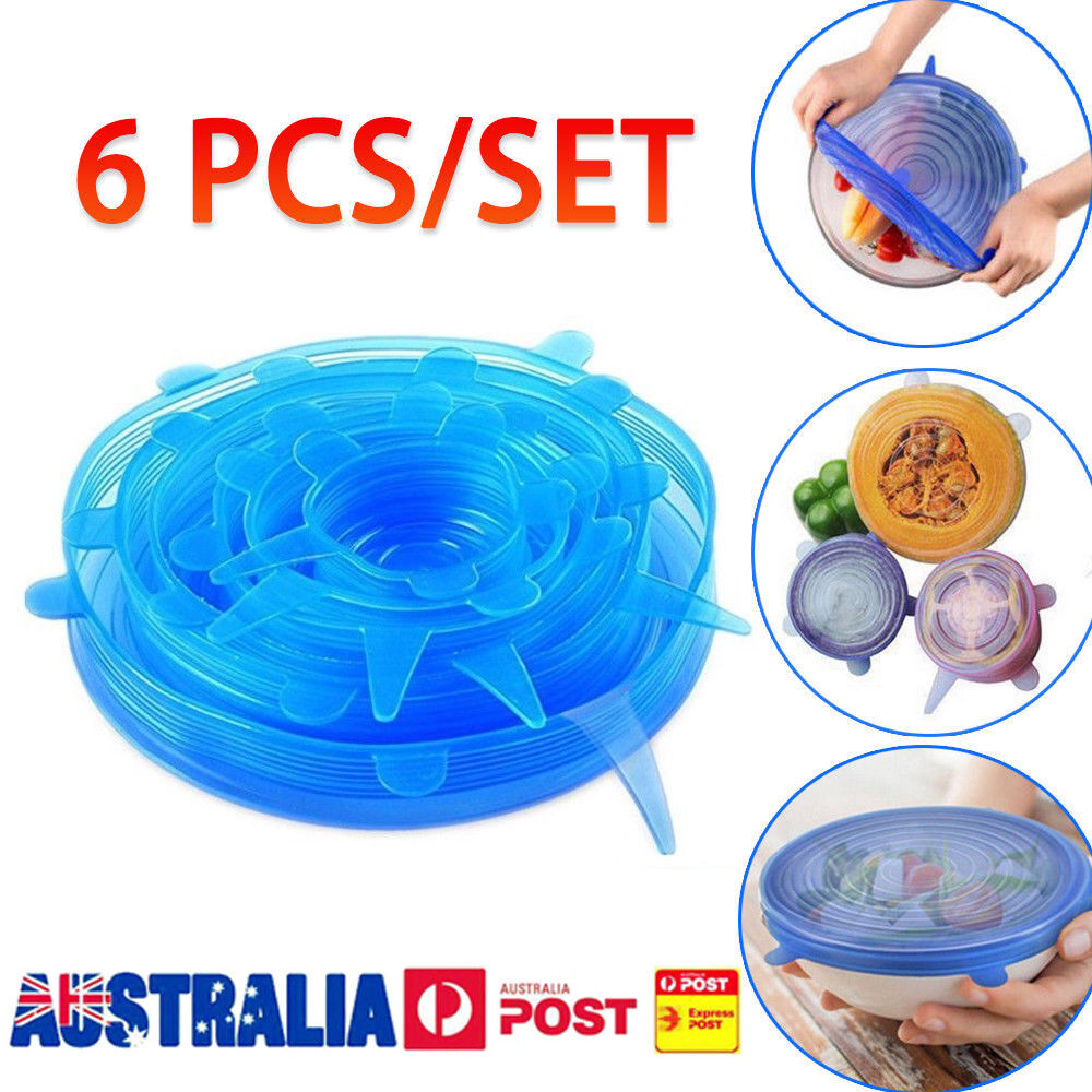 6 INSTA LIDS Universal Silicone Stretch Bowl Cover Food Saver Seal Wrap Reusable