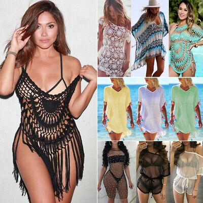 Women's Sheer Bikini Cover Up Swimwear Swim Bathing Suit Summer Beach Mini Dress ()