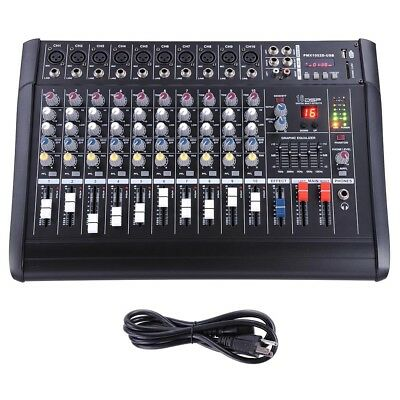 10 Channel Professional Powered Mixer Power Mixing Amplifier Amp 16DSP