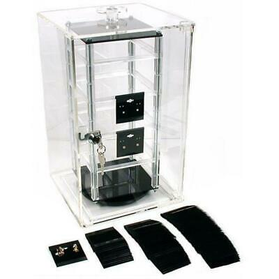 Revolving Rotating Jewelry Display Case 8.5 With 100 2 Black Earring Cards