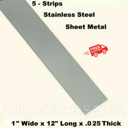 """Stainless Steel Sheet Metal (5 - Strips) 1"""" Wide x 12"""" Long x .025 Thick"""