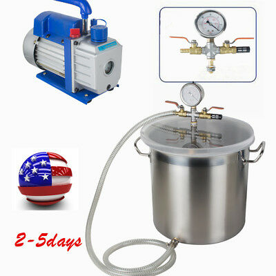 Top 5 Gallon Vacuum Degassing Chamber Silicone Kit W3 Cfm Pump Usa Ca Stock