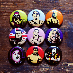 1-034-WRESTLING-BUTTONS-wwf-macho-man-andre-the-giant-pins-mr-perfect-owen-hart-wwe