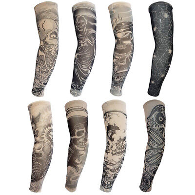 8pc Skeleton Fake Tattoo Nylon Elastic Arm Sun Protection Sleeve Halloween Decor](Halloween Fake Tattoos Sleeve)