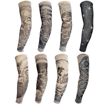 8pc Skeleton Fake Tattoo Nylon Elastic Arm Sun Protection Sleeve Halloween Decor - Halloween Tattoo Sleeve