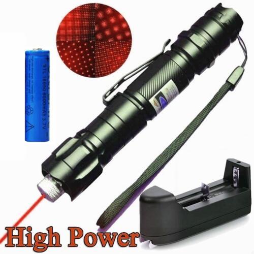 Belt Clip Red Laser Pointer Pen 5mw 650nm Powerful 2in1 Star Light+Batt+Charger