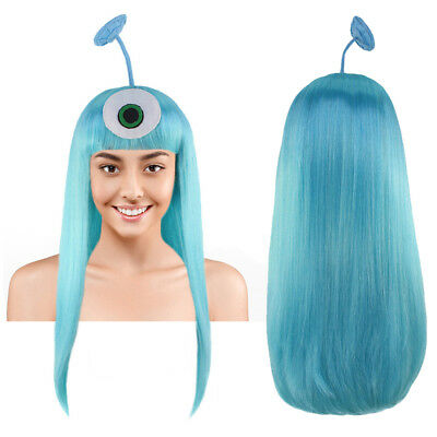 Halloween Alien Hair (Blue Wig with Antennae Cosplay Luis and The Aliens Halloween Party Hair)