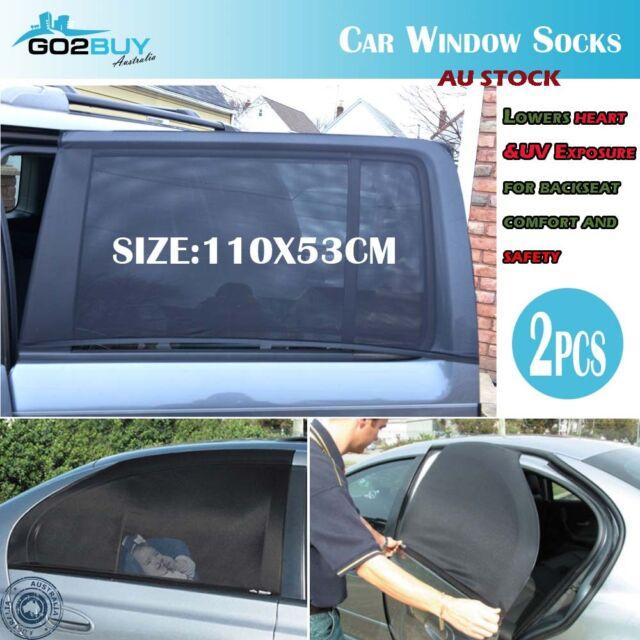 2x Universal Car Window Sox Sun Shades Socks Rear Side Seat Baby Kids Protection