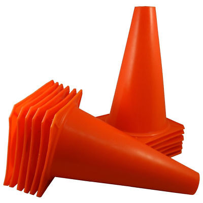 "7"" Orange Agility Training Cones Soccer Football Field Marker Traffic Safety LOT"