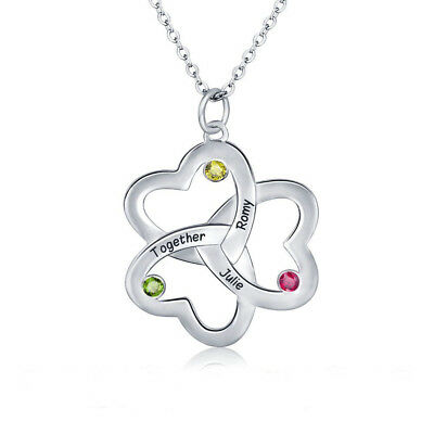 - Mothers Mom Birthstone Necklace 3 Stone Clover Heart