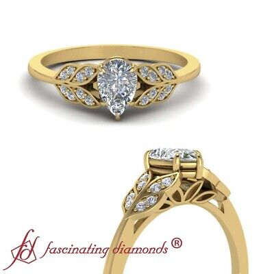 Pear Shape Diamond Antique Leaf Engagement Ring With Round Side Diamonds 0.65 Ct