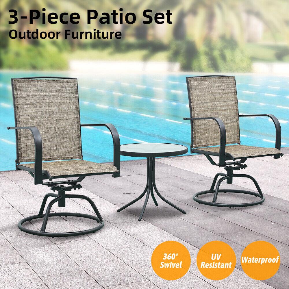 Garden Furniture - Patio Furniture 3 PCS Swivel Bar Sets Textilene Bistro Table Chairs Garden Decor