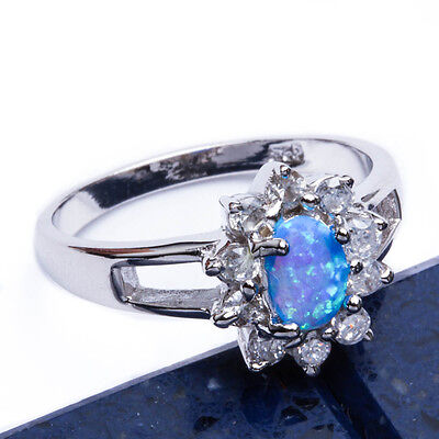 BLUE OPAL & CZ FLOWER .925 Sterling Silver Ring SIZES 6-9