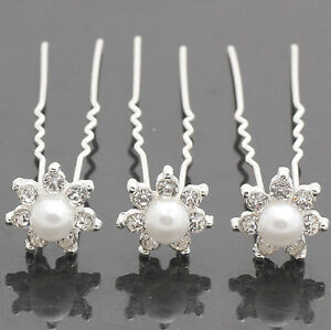 Wholesale 20pcs Clear Swarovski Crystal Rhinestone Pearl Hair Pins Wedding Clips