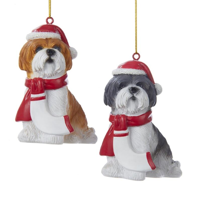 Shih Tzu Resin Santa Ornament 3.9 Inches Gray