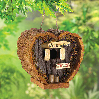 "small 4"" Love nest heart romantic Wood fairy garden Bird house birdhouse statue"