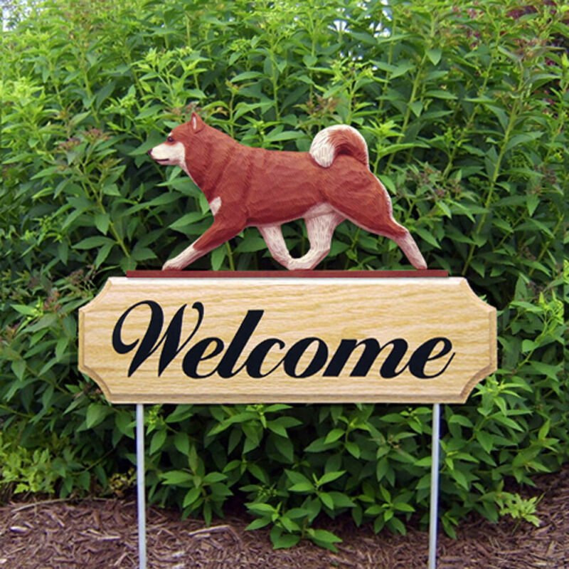 Shiba Inu Wood Welcome Outdoor Sign Red