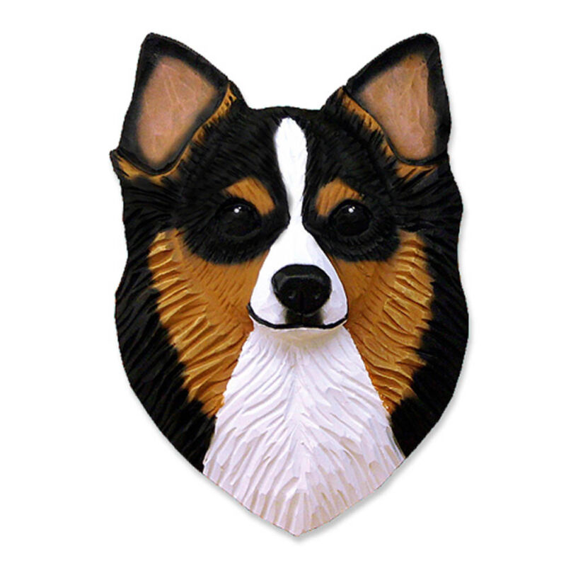 Chihuahua Head Plaque Figurine Tri Longhair