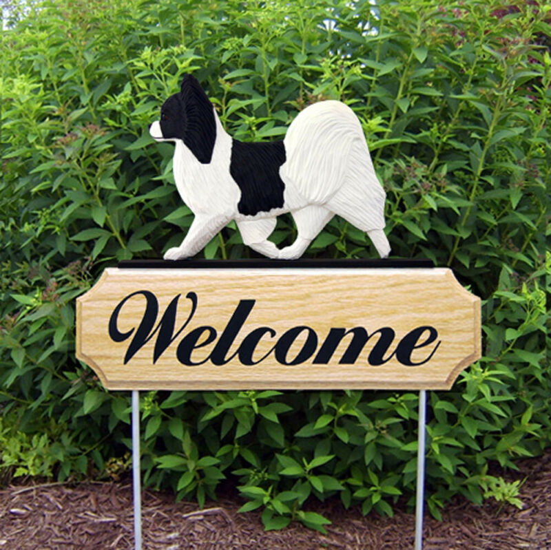 Papillon Wood Welcome Outdoor Sign Black/White